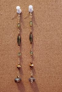 Shoulder Ticklers  Gold and Green Beaded Earrings